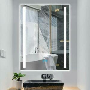 Led Wall Mounted Mirror Lighted Bathroom Mirror With Touch