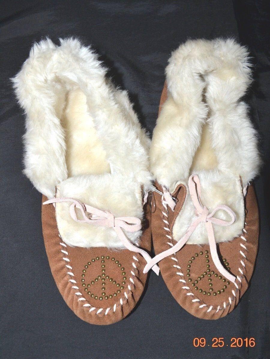 Victorias Secret rosado Zapatillas Zapatillas Zapatillas De Cuero Bling Piel Mocasín Nuevo con etiquetas S 5-6  clásico atemporal