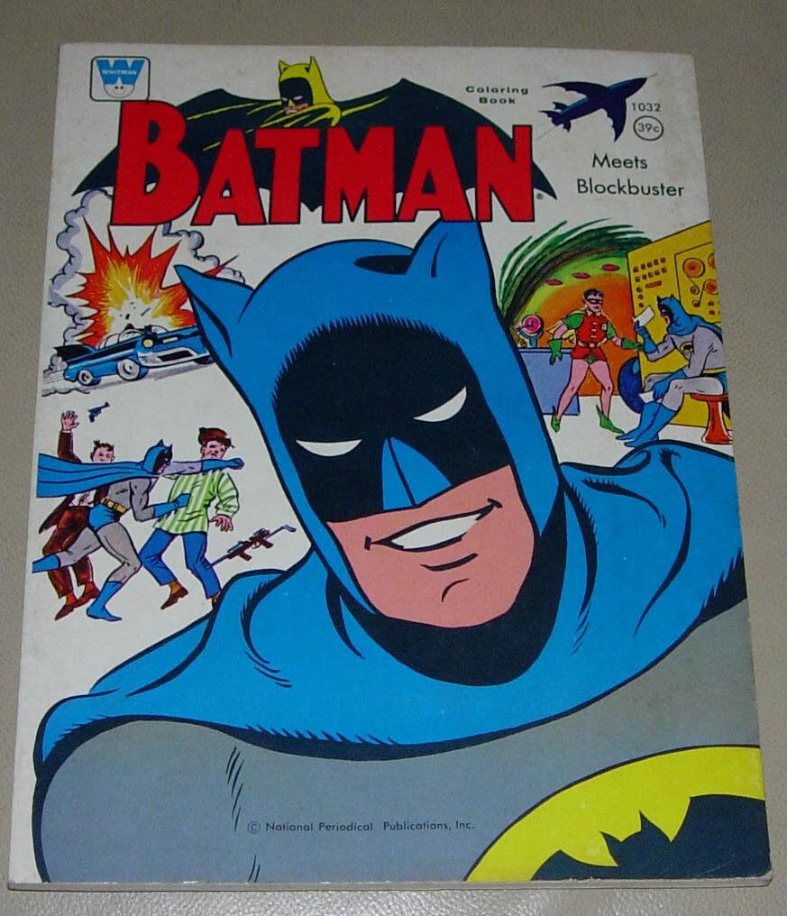 BATMAN MEETS BLOCKBUSTER  WHITMAN FarbeING BOOK  1966  DC COMICS