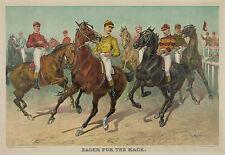 "1893 Horse Race, Art Print, Jockeys, Louis Maurer, 16""x11"", vintage sports. NICE"