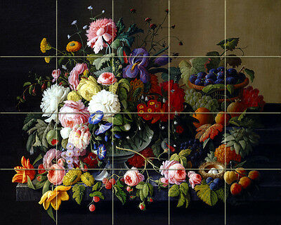 17 x 12.75 Art Still Life Flowers Fruit Ceramic Mural Backsplash Bath Tile #1804