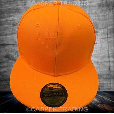 42adb1666 Baseball Snapback Plain Cap Funky Hip Hop SP Retro Classic Vintage Flat Hat  Lot Orange 10x