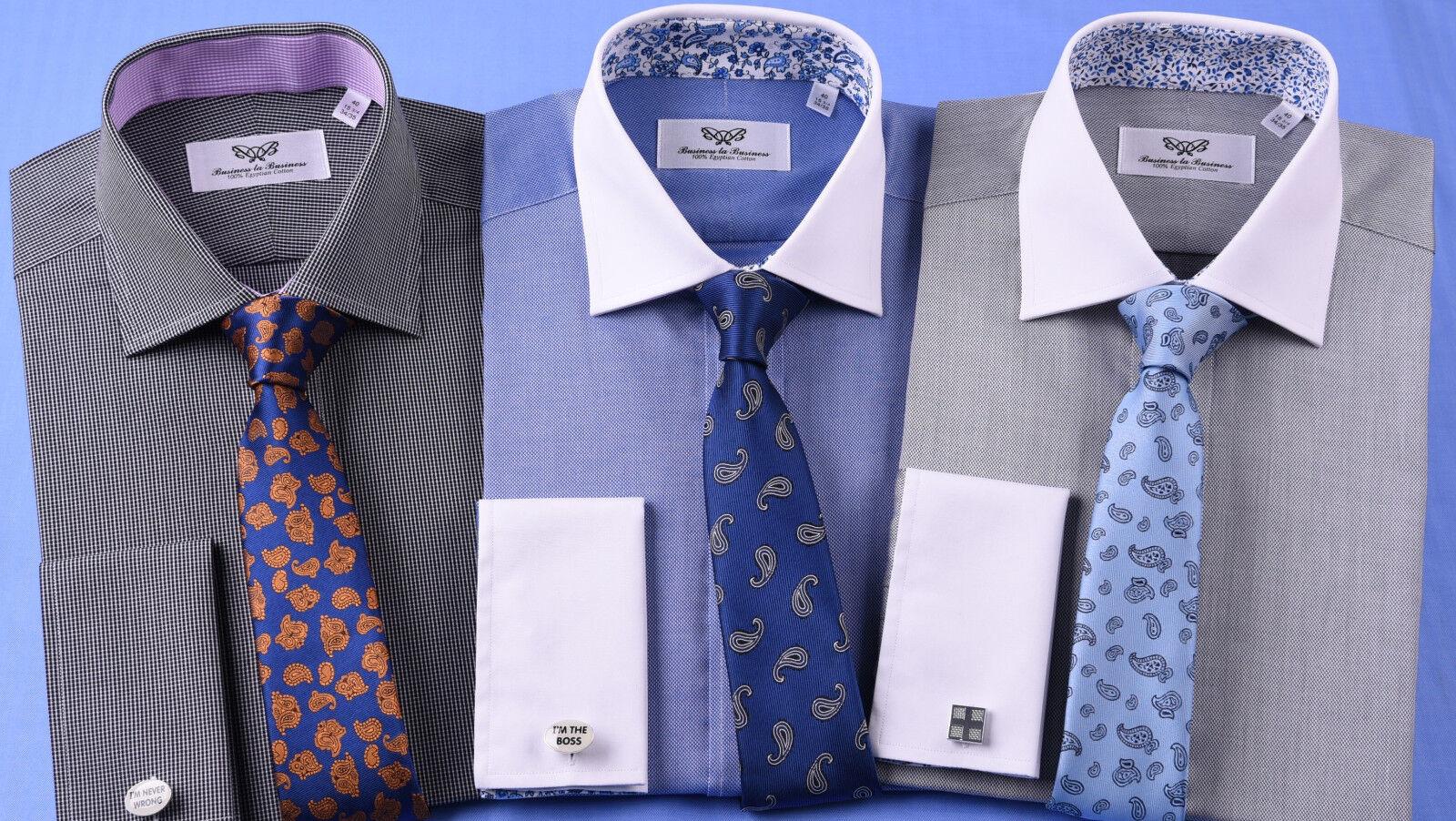 3x  Herren Formal & Geschäft Dress Shirts French Double Cuffs Mixed Ties Lot Bundle