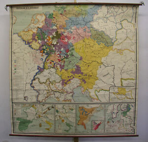 Schulwandkarte Wandkarte Alte Deutschland Karte 18 Jhd 198x200cm