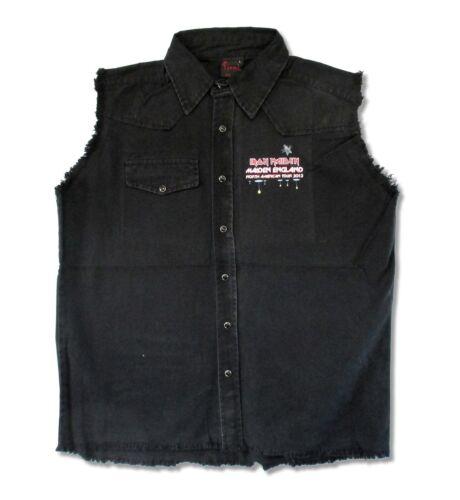 Iron Maiden England 2012 Tour Ed homme noir Denim Gilet Shirt New Official Merch