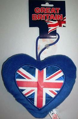 "6"" Union Jack Heart Cushion With Car Window Sucker"