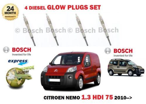 4 FOR CITROEN NEMO MPV VAN 1.3D 1248cc 75bhp 2010--/> NEW DIESEL GLOW PLUGS SET
