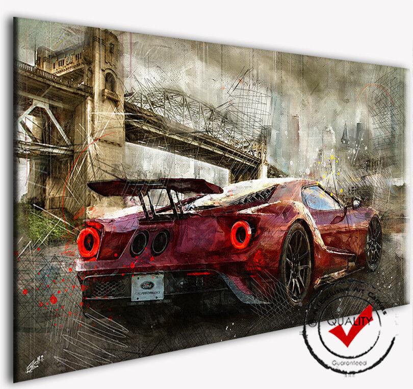 Ford Mustang Image rouge sur toile rouge Image deco voiture Poster des images la fresque art Pression 87bb9e
