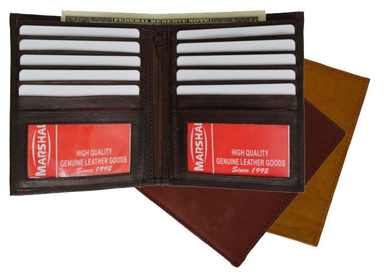 Mens Genuine Cowhide Leather Hipster Bifold European Wallet Credit Card Holder