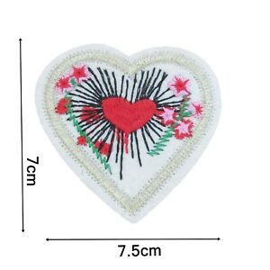 Heart Iron On Patch 7cm x 7.5cm Badge Applique Trimming Gold and Red Jeans P445
