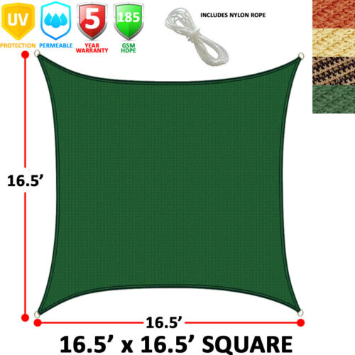 NEW SQUARE CANOPY COVER SUN SAIL SHADE OUTDOOR PATIO AWNING 16.5/' SIDES