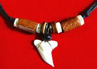 Collier Dent De Requin Pendentif Perles Surfeur