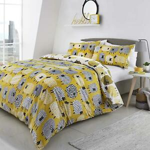 DOTTY SHEEP OCHRE GOLD COTTON BLEND DOUBLE DUVET COVER