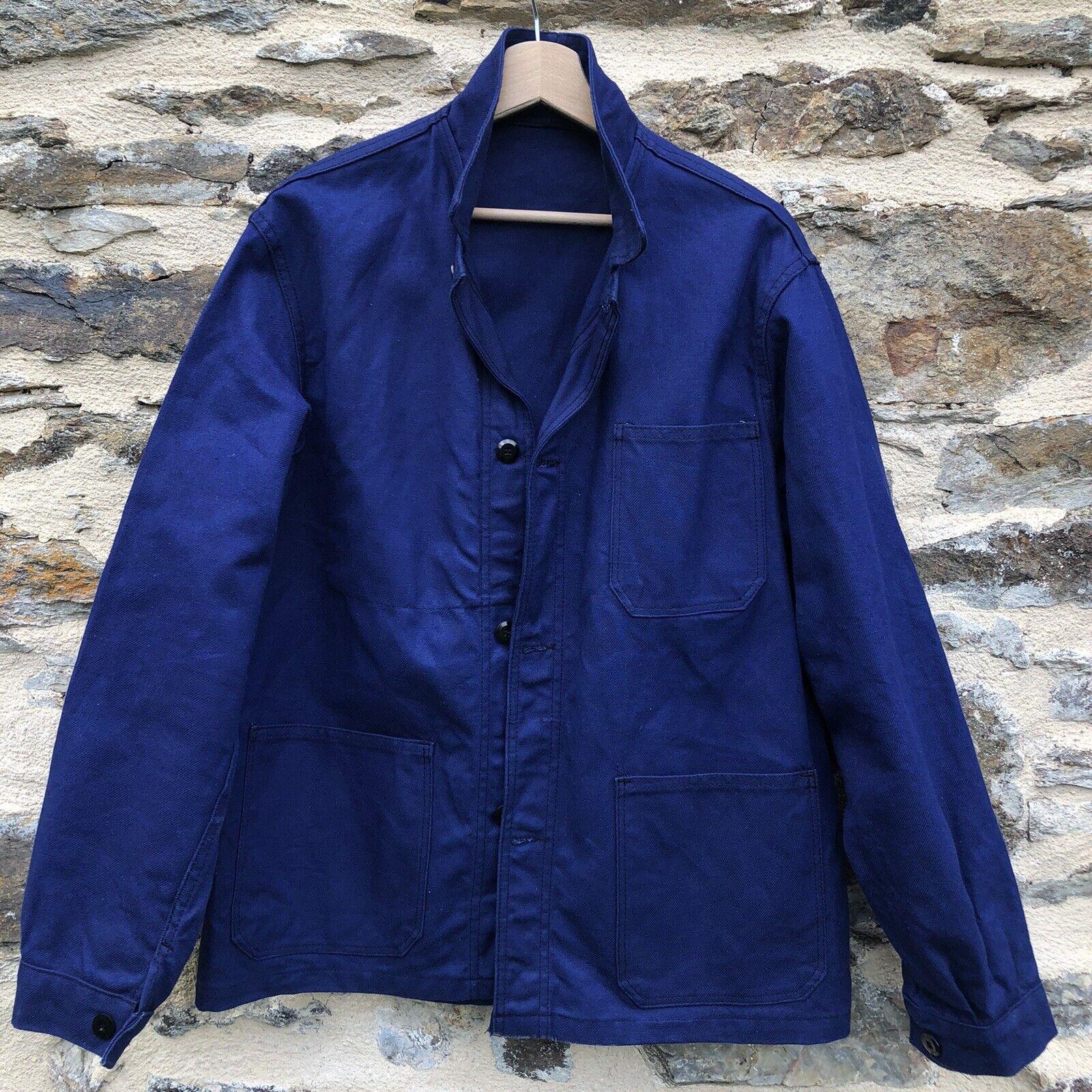 L XL Size S M Vintage French Workwear German Work Jacket Sanfor Navy Blue Chore Coat Bleu de Travail