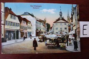 Postkarte-Ansichtskarte-Bayern-Lithografie-Bad-Kissingen-Marktplatz