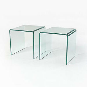 Pair Of Glass Side Tables Coffee Set Of Two Curved End