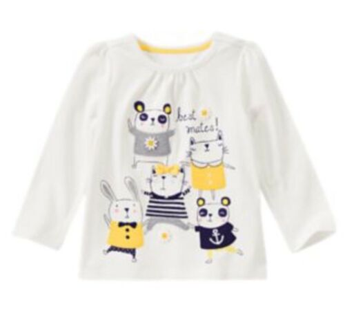 NWT Gymboree Flower Shower Ls Top Yellow White Critters Shirt Daisy 3t