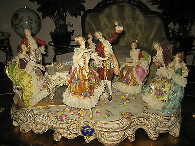 "28"" Dresden Volkstedt Porcelain Statue. Rococo Group Playing Music. 1850-1889"