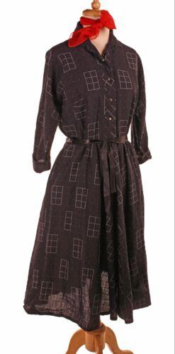 Vintage 50s Rayon Dress - Black & White Woven Desi