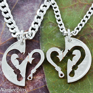 Fish-Hook-heart-couples-necklace-set-Hand-Cut-Coin