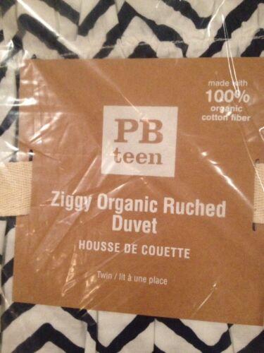 Pottery Barn PB Teen Ziggy Organic Ruched Duvet Cover Standard Sham TWIN Navy