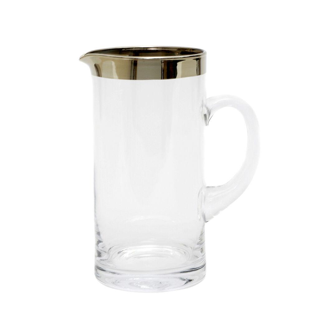 Edler Glaskrug Mit Platinrand Mundgeblasen Wasserkaraffe Saftkug 1Liter Pitcher