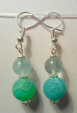 Dangle earrings - frosted Agate + Flourite round beads