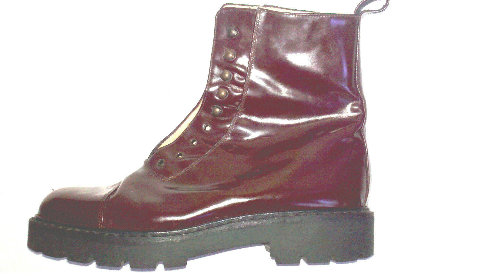 SUSAN MENNIS HANDMADE ITALIAN BOOTS BROWN PATENT LEATHER ANKLE S 6 steam punk