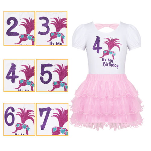 Kids Girls Birthday Dress Outfit Number 2//3//4//5//6//7 Printed Tops with Tutu Skirt