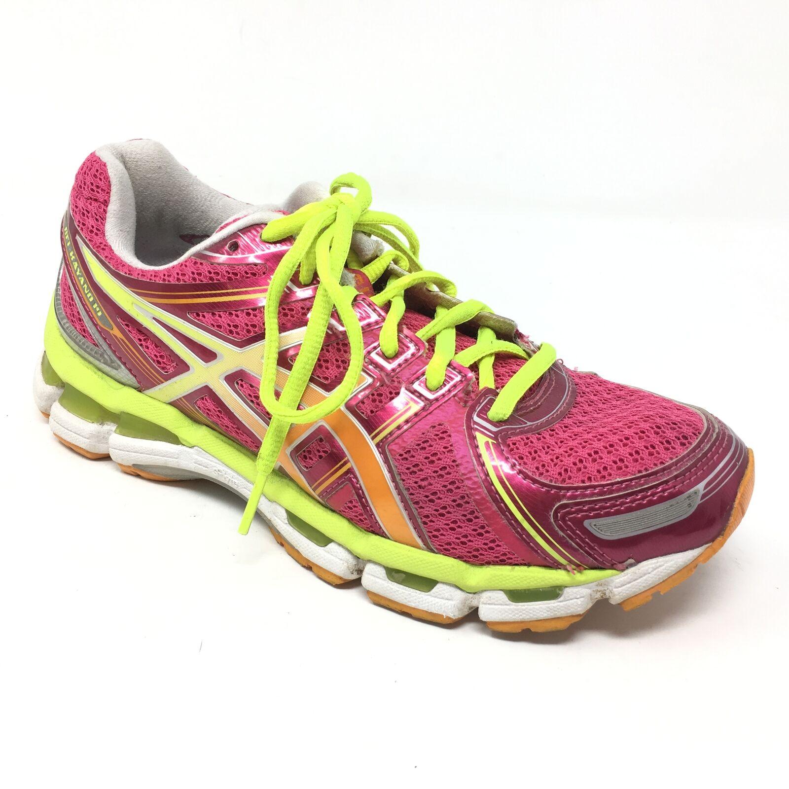 Women's Asics Gel-Kayano 19 Shoes Sneakers Size 7 Running Pink Lime Orange W3