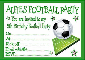 personalised invites childrens / boys football birthday party, Party invitations