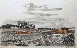 Acuarela-Karl-adser-1912-1995-invierno-paisaje-con-luna-y-ciervo-38-x-24-cm