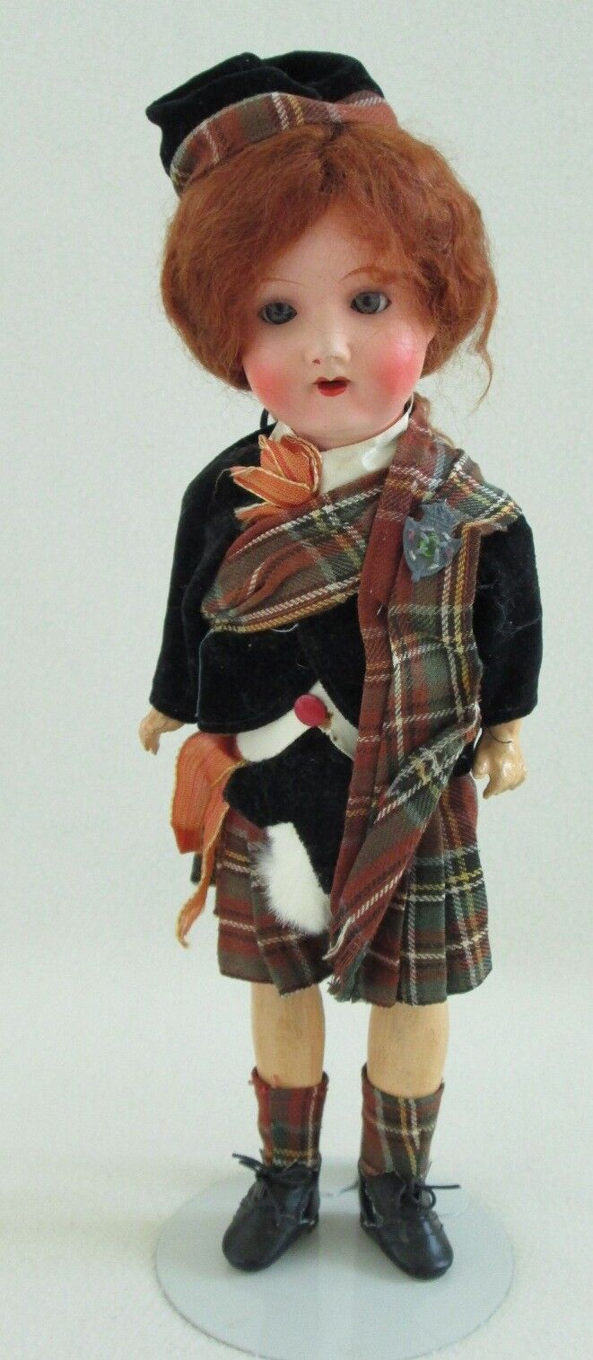 13.5  Armand Marseilles 390 a/o Scottish Outfit-Sleep Eyes-Replaced Wig