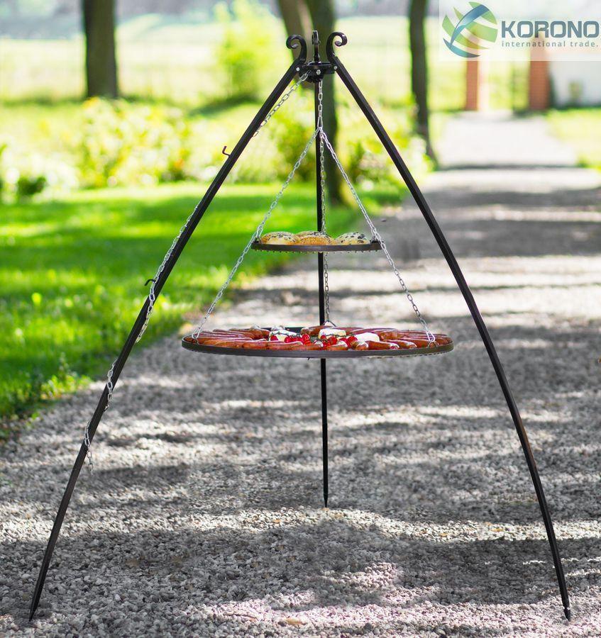 Testa girevole Grill Grill da giardino in acciaio inox-le grate doppio ø70 80cm e 40cm H 2m tre gamba