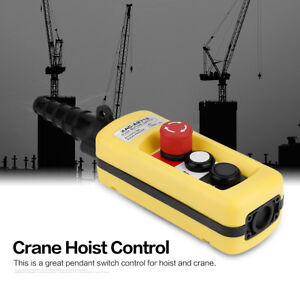Hoist Crane Pendant Contorl Station Push Button Switch Lifting Controller with Emergency Stop