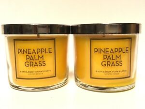 LOT-2-BATH-BODY-WORKS-HOME-PINEAPPLE-PALM-GRASS-4-OZ-SCENTED-FILLED-CANDLE-NEW