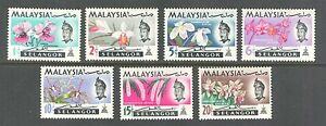 FLOWERS-ORCHIDS-ON-SELANGOR-MALAYSIA-1965-Scott-121-127-MNH