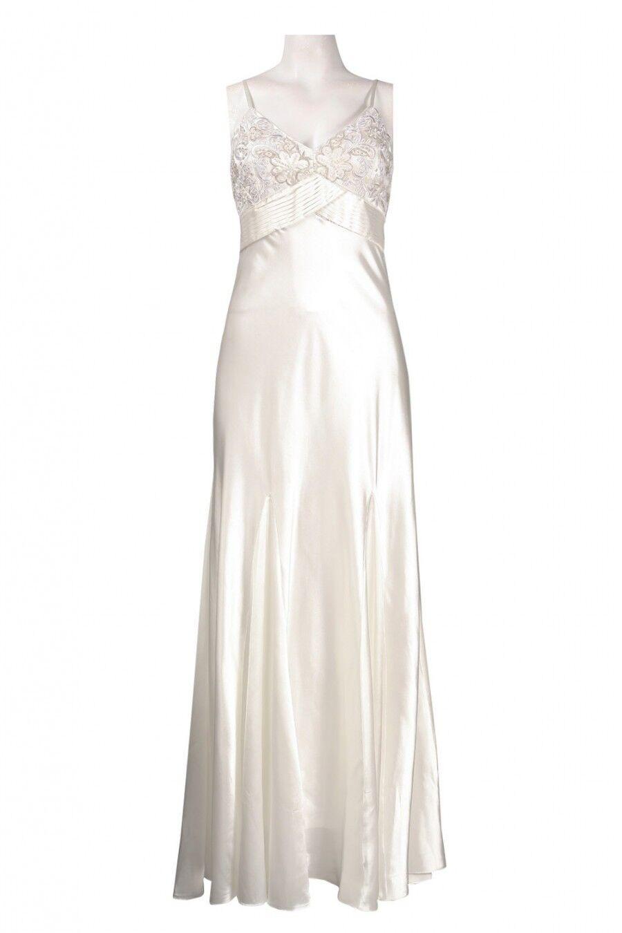 Sue Wong D1123 Ivory Empire Waist Soutache Detail Satin Gown Size 12 NWT