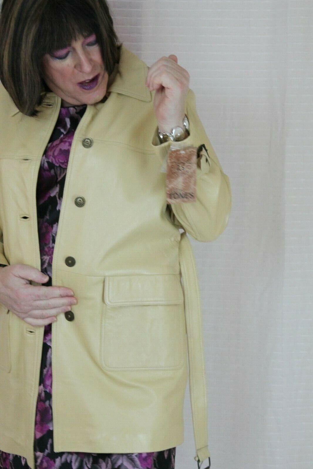 Skin tones  real leather  coat cream size size size 16 389c3c