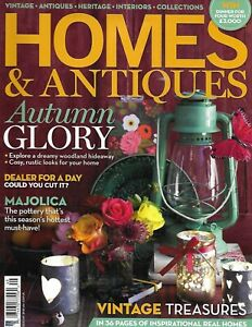 Homes-and-Antiques-Magazine-Autumn-Decor-Majolica-Vintage-Treasure-Finds-2013
