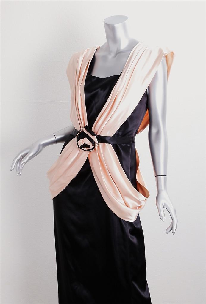 UZANEL schwarz+Peach VINTAGE Satin Full Length Sleeveless Long Dress Gown 12 XS S