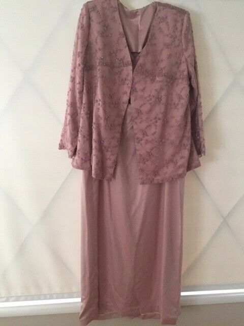 Pink Mauve Beaded Jacket Dress Evening, Special Occasion Mother of the Bride