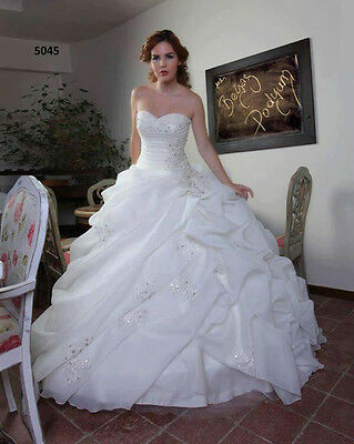 Custom Ball Gown Wedding Dress Sweetheart Organza Beading White/Ivory BridalGown