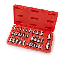 """35-pc 1/4"""" 3/8"""" Drive Star Bit E Torx Sockets Set Tools Tamper Proof Female"""