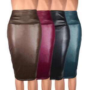 4e7166b86 Detalles de Mujer Fiesta Sexy Cuero Alta Cintura Lápiz Bodycon Hip Mini  Falda