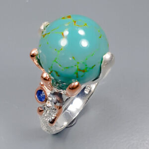 Turquoise Ring Silver 925 Sterling Fashion women jewelry Size 6.5 /R145994