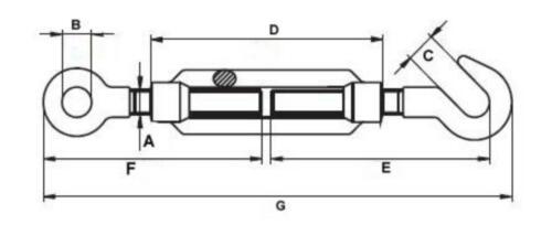 1 Stück Spannschloss DIN 1480 Haken//Öse M 6 verzinkt Seilspanner Drahtspanner