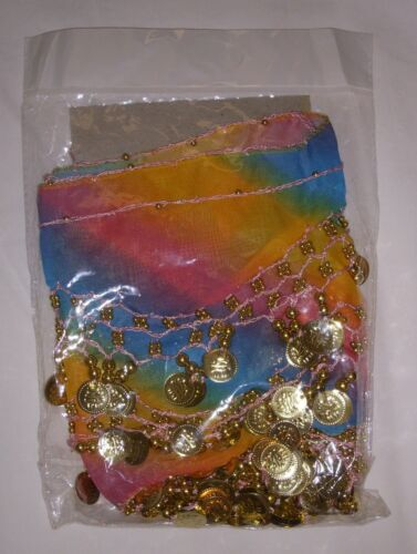 Rainbow Multi-Colored Chiffon Belly Dance Hip Scarf Skirt Silver or Gold Coins!