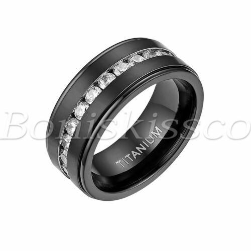 Para hombres 8mm Anillo De Titanio Negro Cubic Zirconia de compromiso alianza de boda Comfort Fit