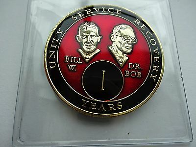 AA Bill/&Bob Red Gold 1 Year Coin Tri-Plate Alcoholics Anonymous Medallion Stand